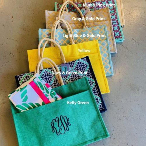 Monogrammed Pocket Tote Bags