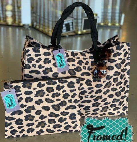 Leopard Monogrammed Zipper Pouch