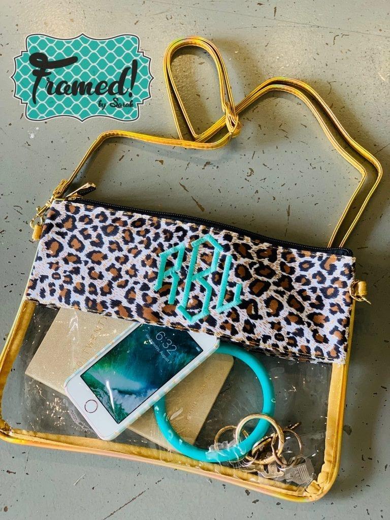 Leopard August Monogram Box clutch