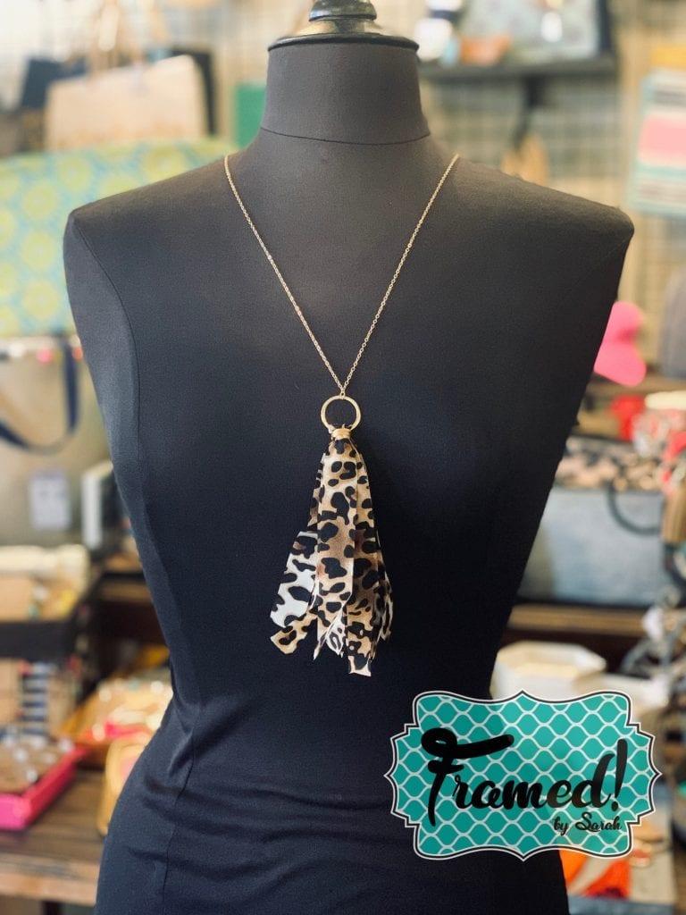 Leopard August Monogram Box Necklace