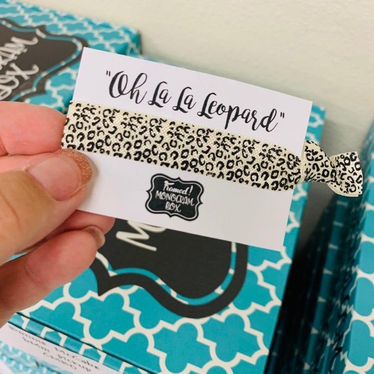 Leopard August Monogram Box Hair Tie