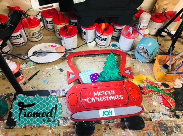 Painting a Vintage Christmas Truck Door Hanger