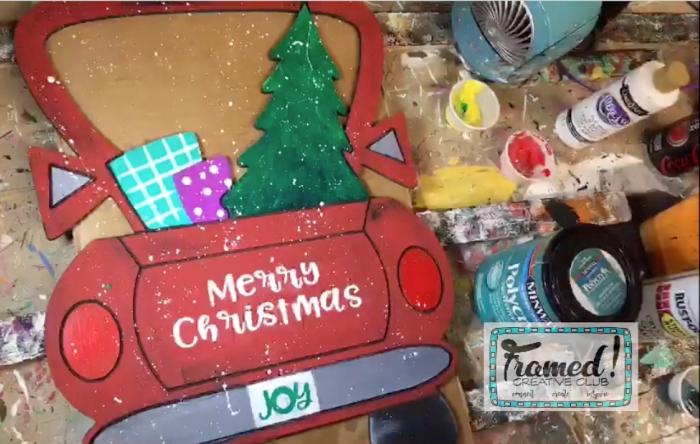 Vintage Christmas Truck DIY Door Hanger