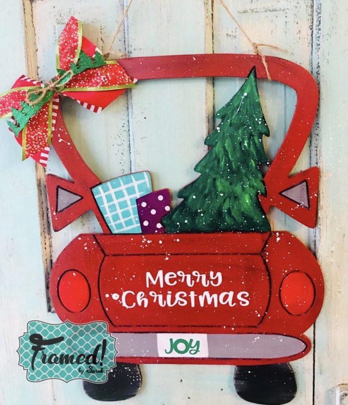 How to Paint a Vintage Christmas Truck Door hanger