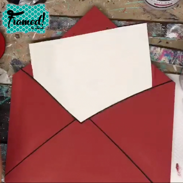 paint the envelope red and paper white Whimsical Valentine Door Hanger DIY Tutorial Framed by Sarah