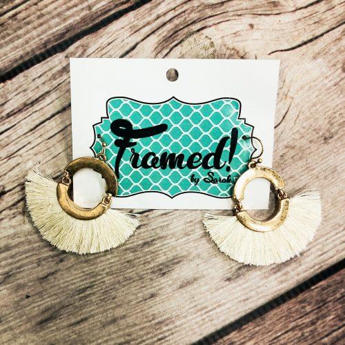 Cream Fringe Earrings