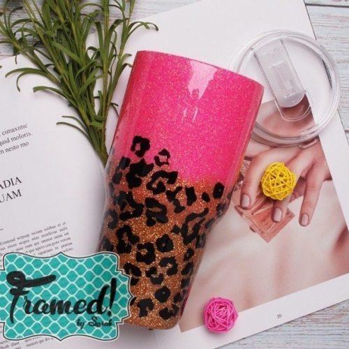 Glitter Epoxy Leopard Tumbler