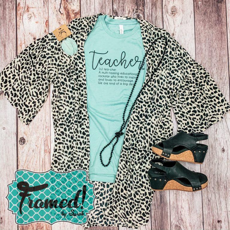 March Teacher Tee Outfit with leopard kimono Framed by Sarah Tees 4 Teachers Subscription Box