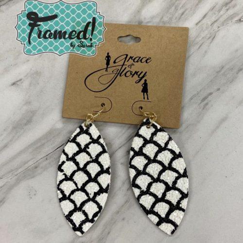 Black & White Mermaid Glitter Earrings