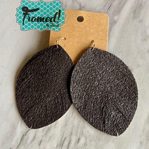 Charcoal Glitter Feather Earrings