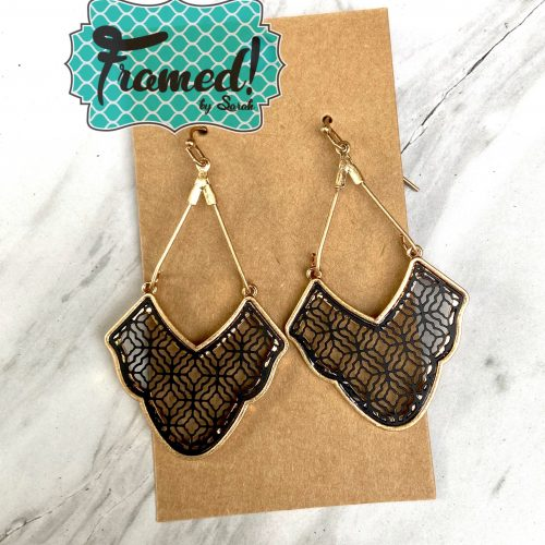 Black & Gold Drop Earrings