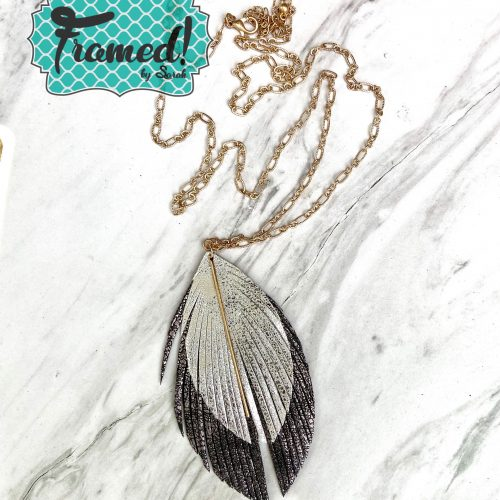 Black & Silver Feather Necklace