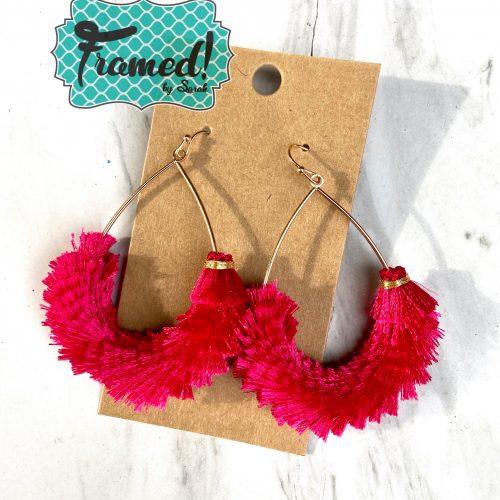 Hot Pink Fringe Earrings