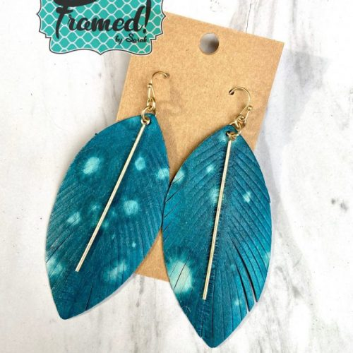 Teal Feather Earrings