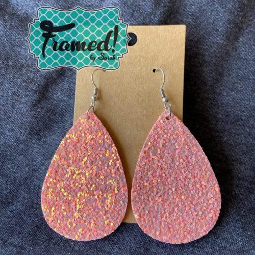 Coral Glitter Teardrop Earrings