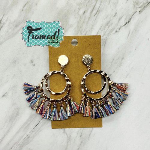 Jewel Toned Fringe Earrings