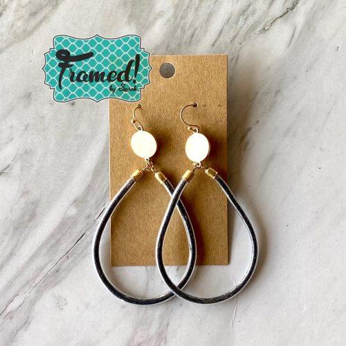 Graphite Glitter Oval Earrings
