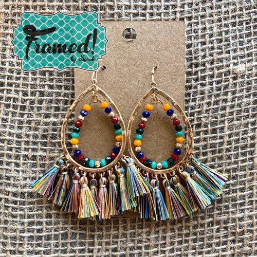 Multi-Colored Oval Fringe Earrings