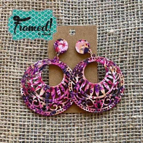 Pink Patterned Earrings