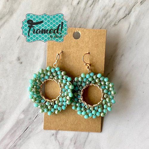 Turquoise Beaded Circle Earrings