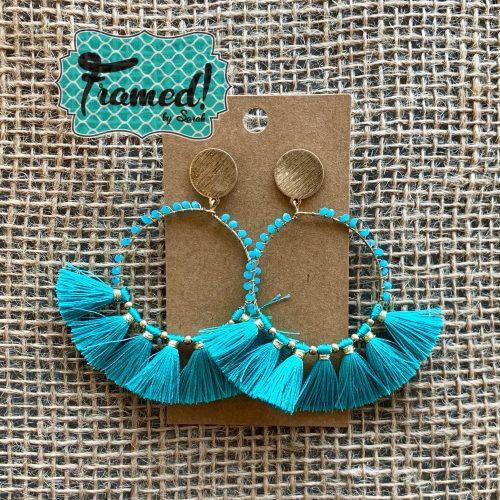 Turquoise Beaded Fringe Earrings