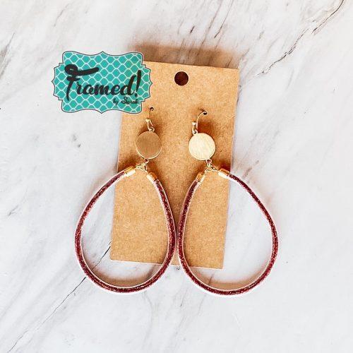 Red Glitter Oval Earrings
